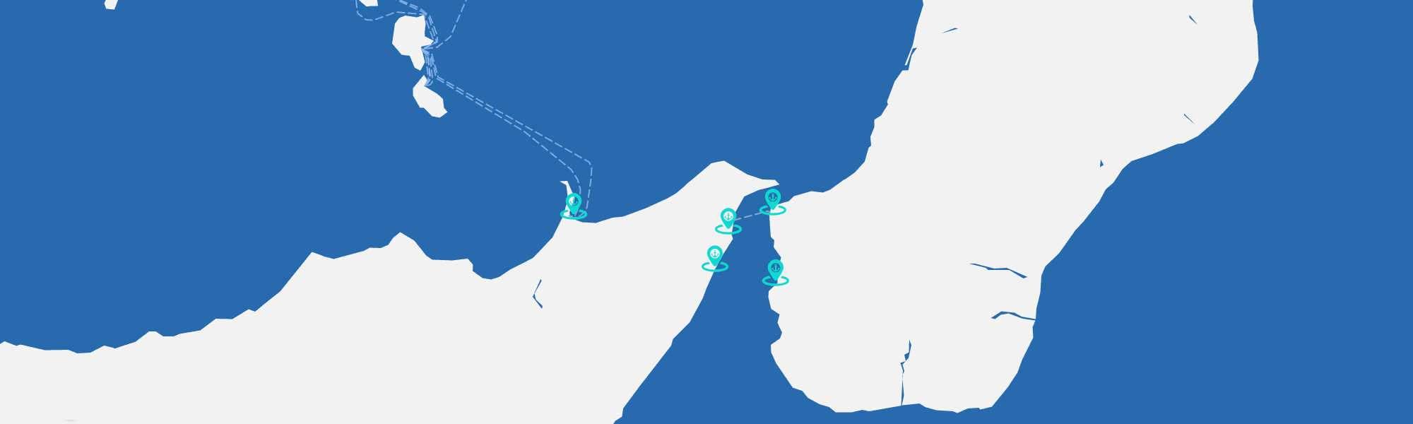 Mappa dei porti dello Stretto